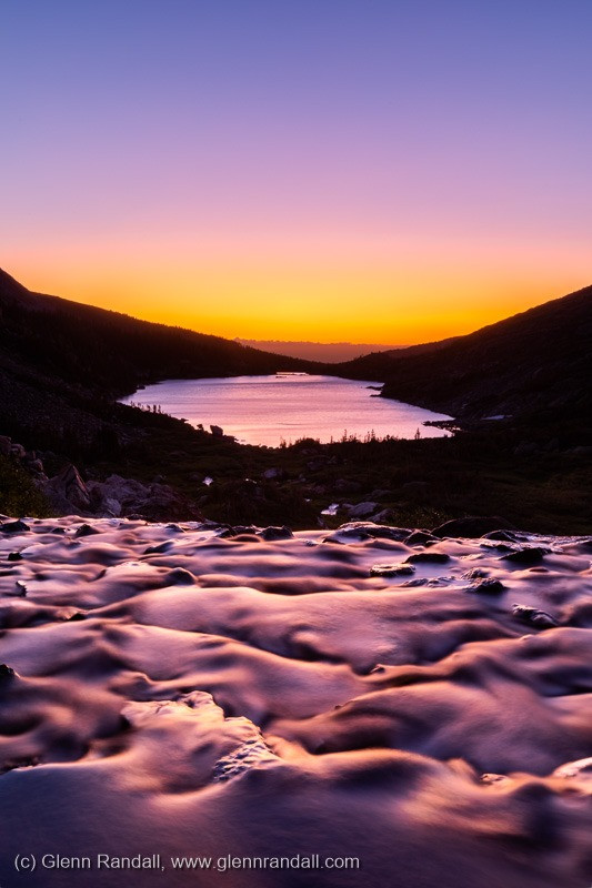 Twilight glow over Lake Isabelle, Indian Peaks Wilderness, Colorado