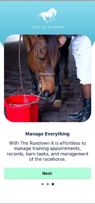 The Rundown App, stable management, horse racing app