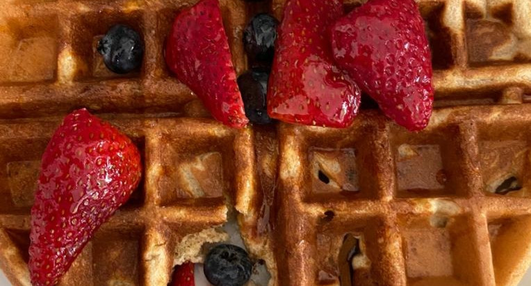 homemade waffles with extra protein