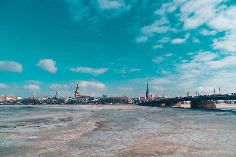 The opposite side of the Daugava river