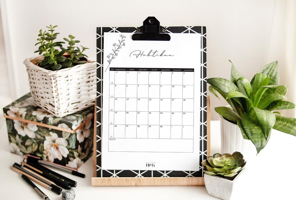 Design HiMa kalenterisivu huhtikuu
