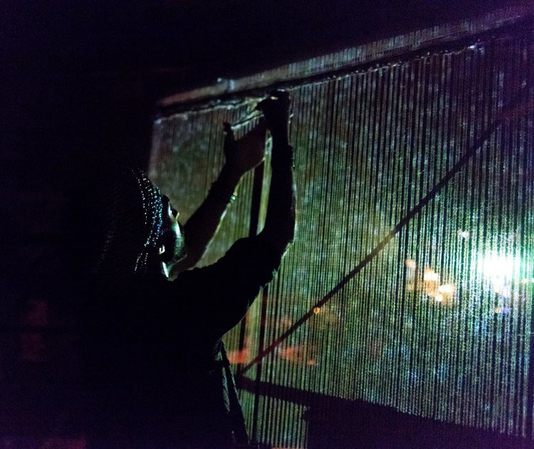A series of works interjecting the process of weaving into active nightclub spaces.