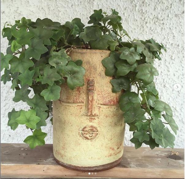 Maceteros de greda hechos a mano y plantas