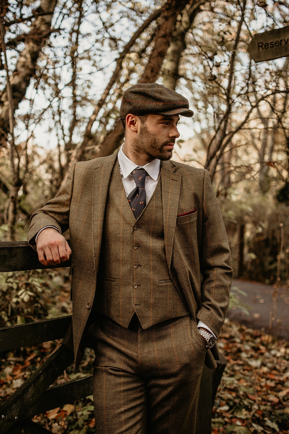 man in tweeds photo session england