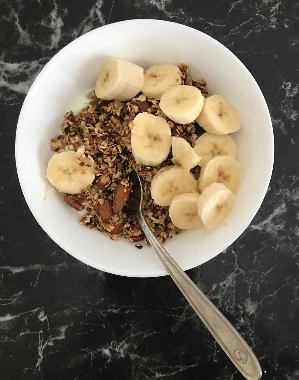 Aerial view of granola breakfast bowl