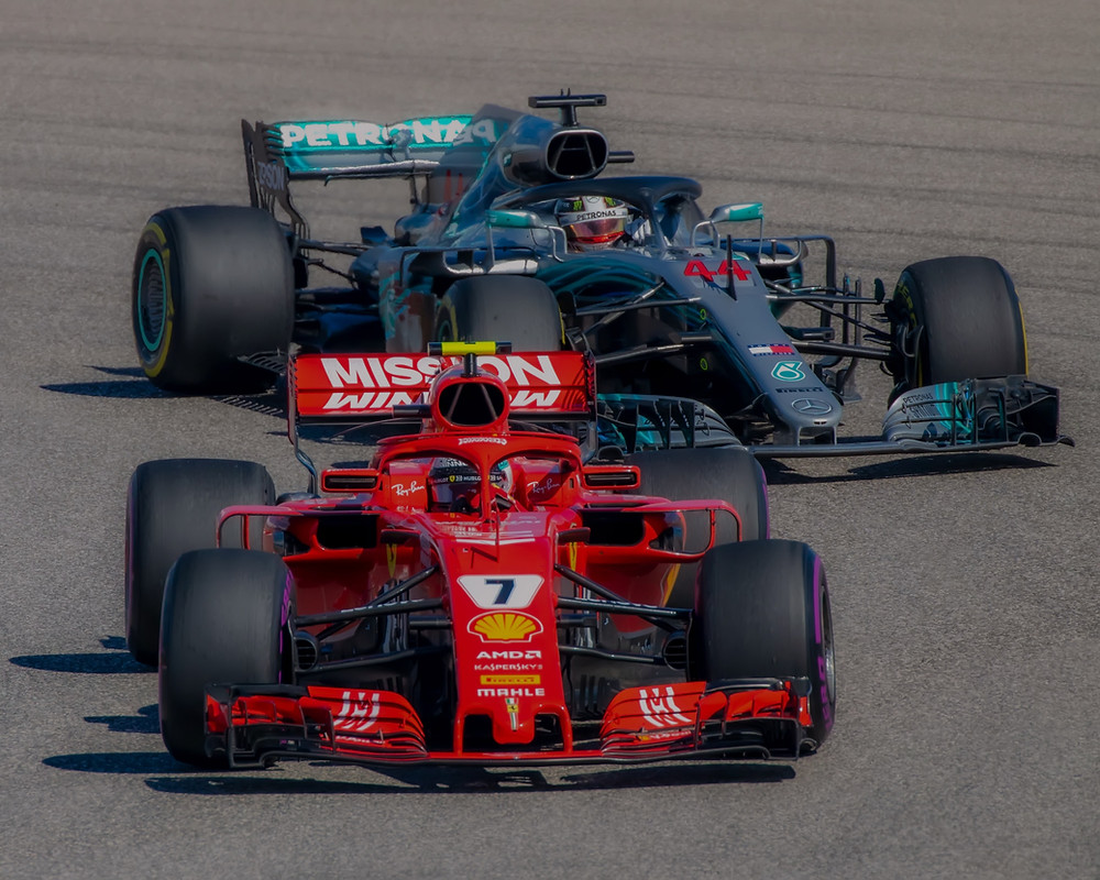 Mercedes and Ferrari on track