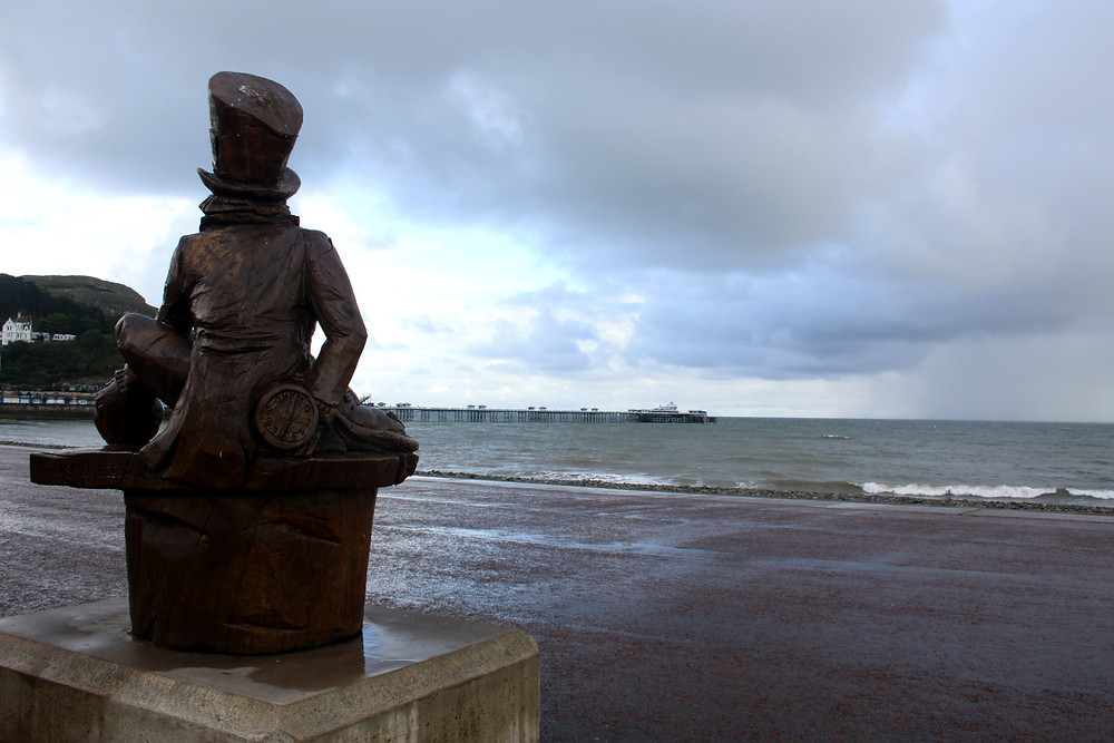 Statue of the Mad Hatter from Alice in Wonderland in Llandudno Wales