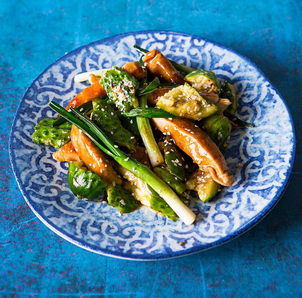 Vištiena terijakio padaže su muštais agurkais, Alfo receptai, mušti agurkai, terijakio padažas VMGonline receptai