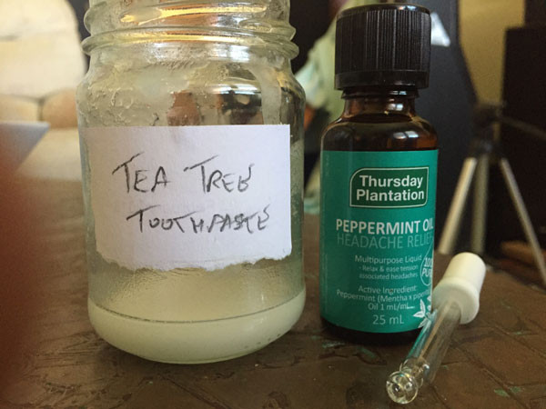 Peppermint oil with the tea-tree oil toothpaste before being added.