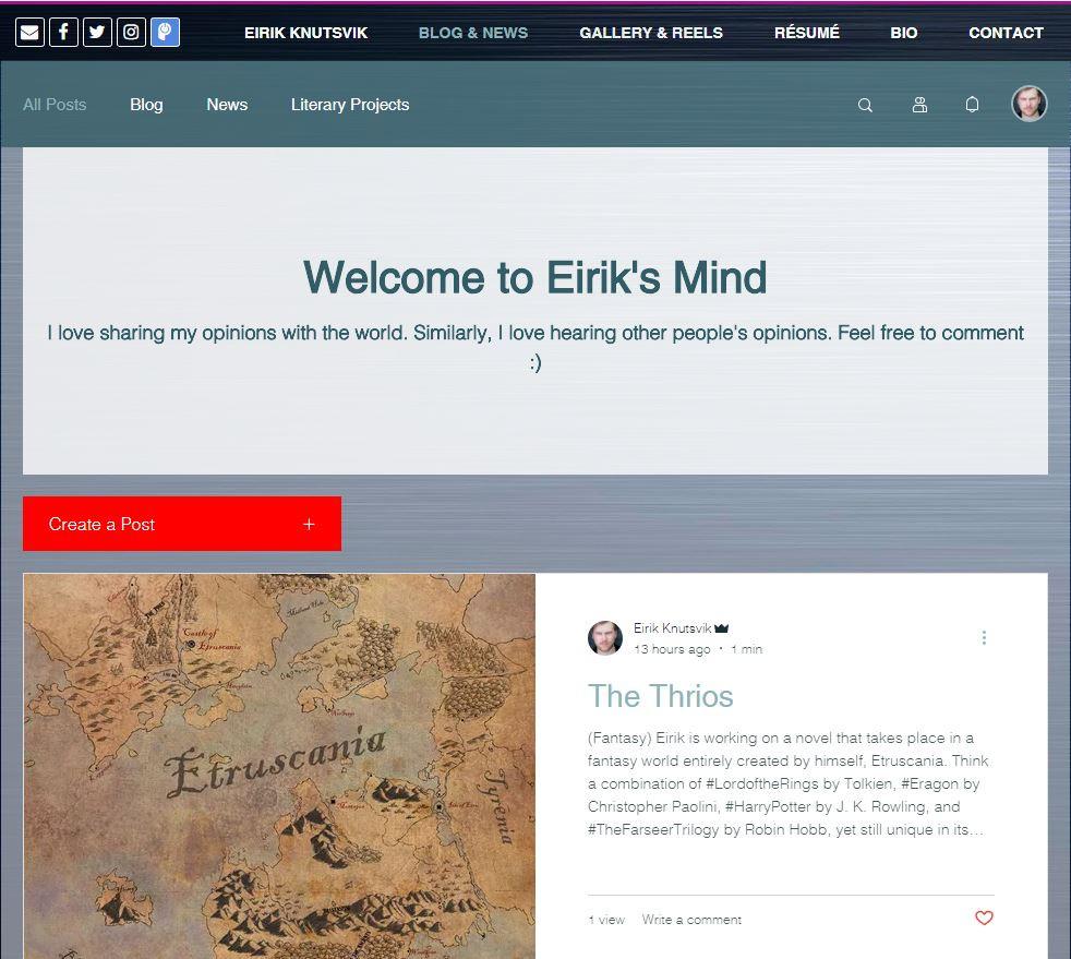 Blog and News section on Eirik Knutsvik's website.