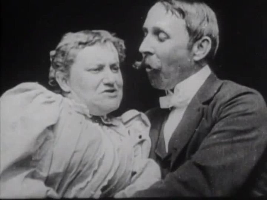 John C. Rice and May Irwin in 'The Kiss', circa 1896
