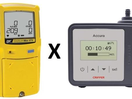 Qual é a diferença entre bombas de amostragem e detetor de 4 gases?