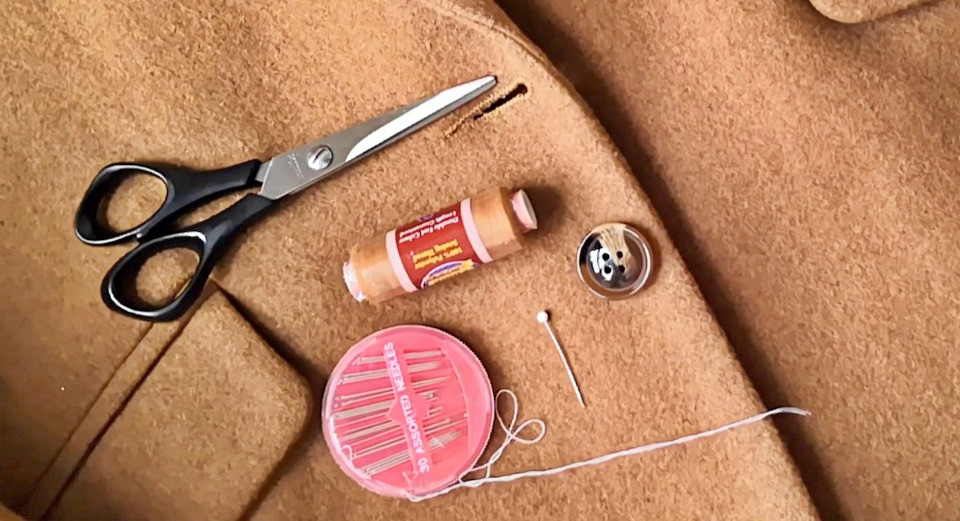 Sewing thread, needles, scissors, a pin and button