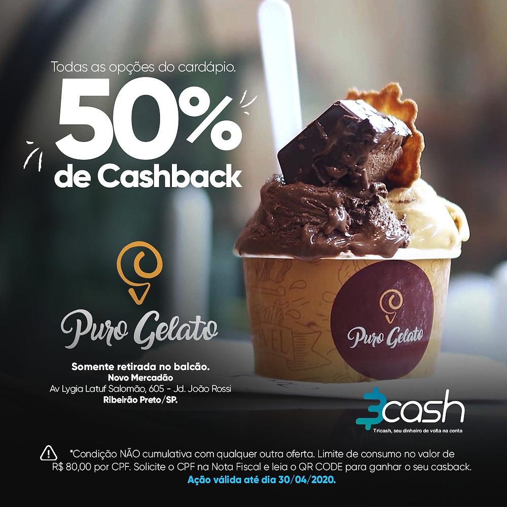50% de cashback no Puro Gelato