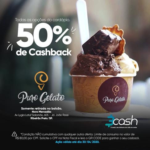 50% de cashback no Puro Gelato, só com a 3cash!