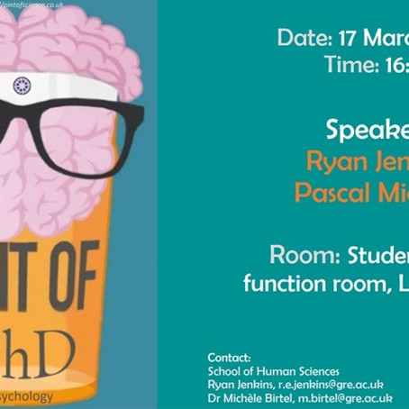 Pint of St Patrick's PhD with Ryan Jenkins & Pascal Michael 17 March 4PM