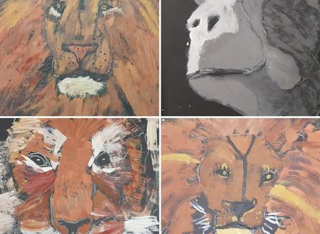 Year 5's African animal street art