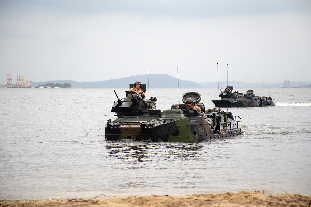U.S. Marines with 4th Assault Amphibian Battalion, a unit based out of Tampa Bay, Florida, conduct vehicle recovery exercises with amphibious assault vehicles during UNITAS LX on the Brazilian Marine Corps Base of Ilha do Governador, Brazil, Aug. 19, 2019.