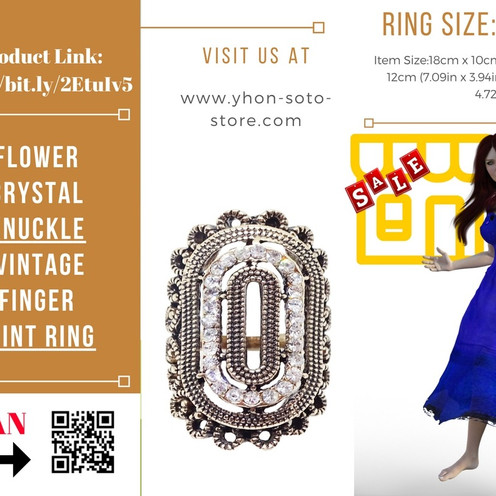 New Fashion Cute Gold Plated Flower Crystal Knuckle Vintage Finger Joint Ring