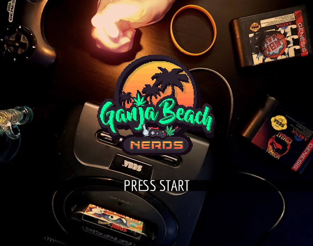 Ganja Beach Nerds logo over a photo of Sega Genesis with controllers and bong.