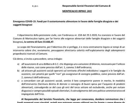 AL COMUNE DI MONTECALVO 33.666,47 EURO PER IL SOSTENTAMENTO ALIMENTARE
