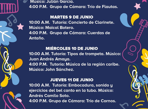 PROGRAMACIÓN BANDA MUNICIPAL DE MANIZALES - SEMANA DEL 8 AL 12 DE JUNIO