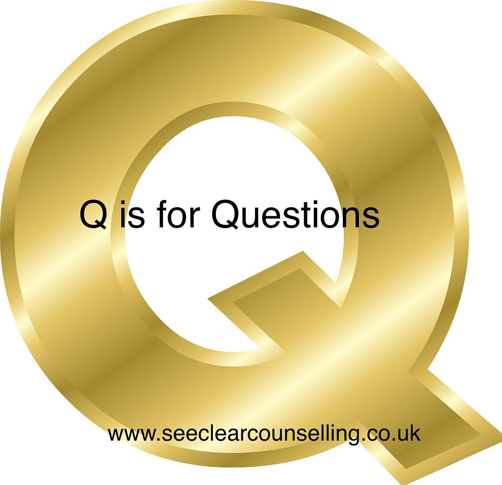 Gold letter Q for questions