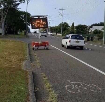 Give Cyclists Space Funny Sign