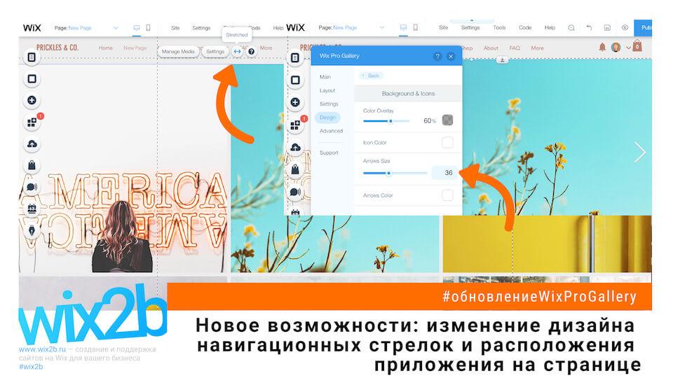 В настройках Wix Pro Gallery теперь можно изменить цвет и размер стрелок навигации.