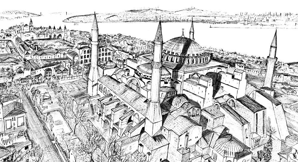 Drawing of Hagia Sofia Museum in Istanbul, Turkey © Alec Boreham