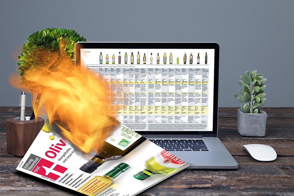Die Ausgabe zum Olivenöl-Test der Stiftung Warentest ist das Papier nicht wert, auf dem sie gedruckt wurde (Bildmontage: evoo.expert)