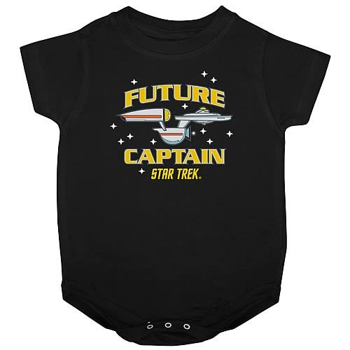 "A black baby onesie with a cartoon USS Enterprise on it, the words ""Future Captain"" surrounding it and ""Star Trek"" underneath"