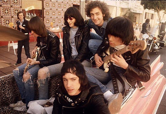 Ramones with director Allan Arkush on the set of Rock N Roll High School