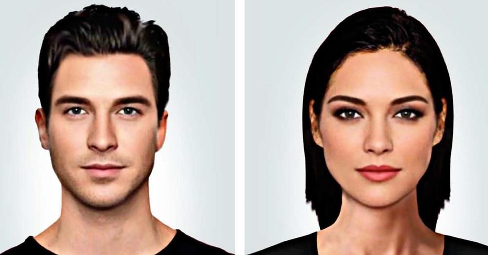 Rostros de hombre y mujer.