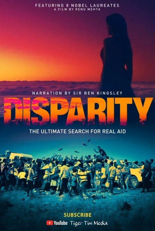 The Disparity film poster which has Disparity written across the middle with a woman above silhouetted by the sunset and below a scene of people scrambling for aid from a truck.