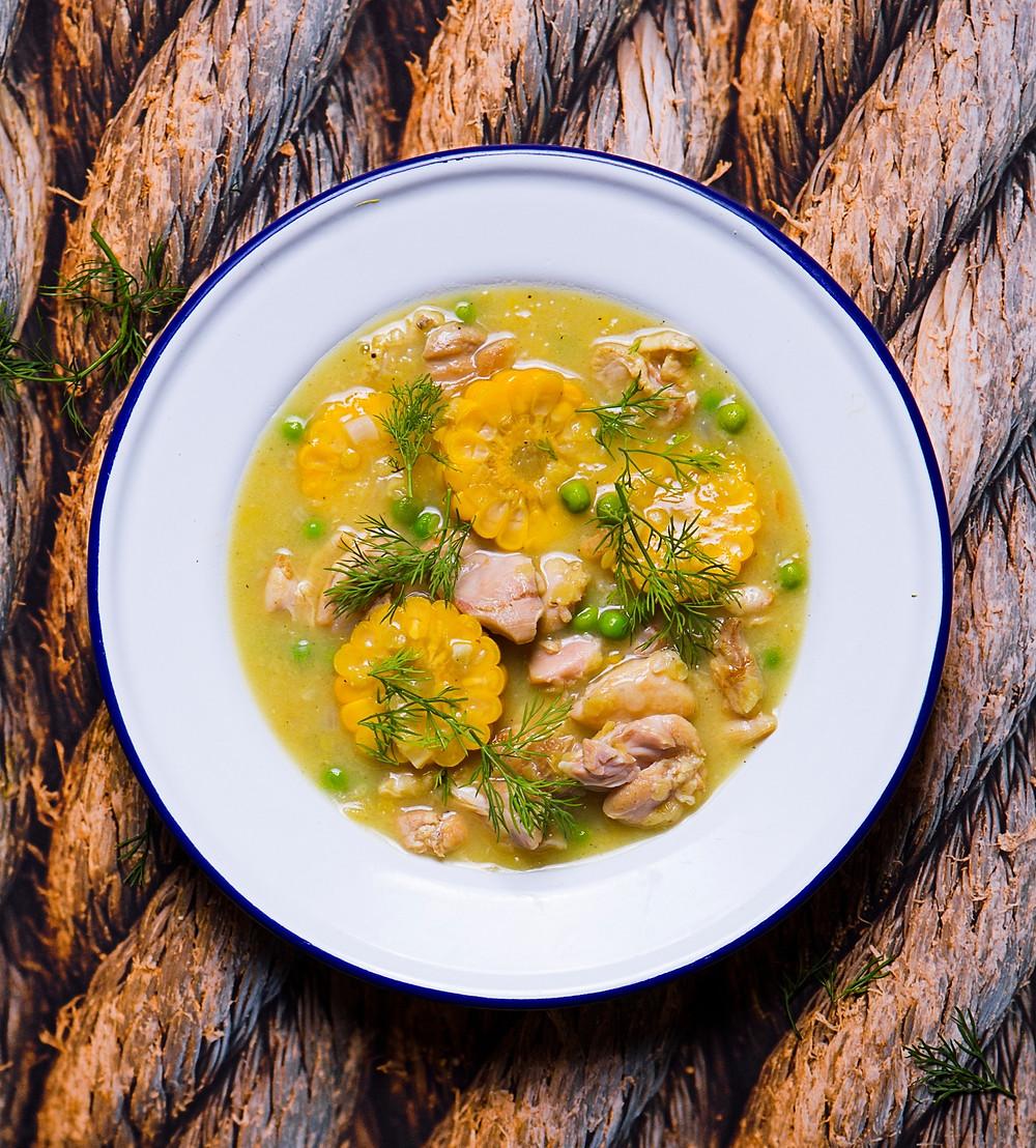 Tiršta kukurūzų sriuba su vištiena ir žirneliais, Verdu ir kepu