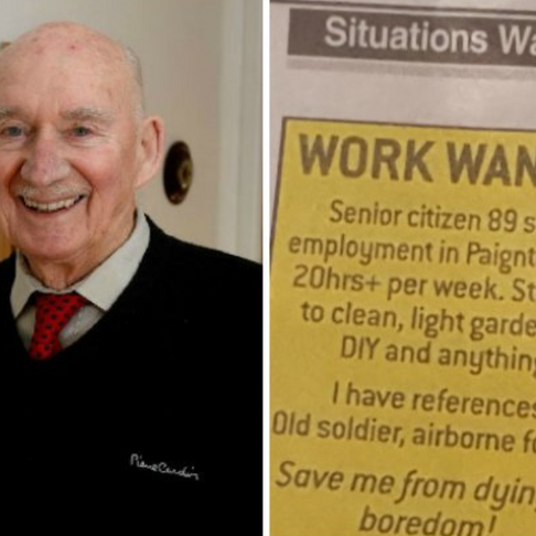 """89-Year-Old War Vet Gets Job Offers After Posting Ad for Work to Save Him from """"Dying of Boredom"""""""