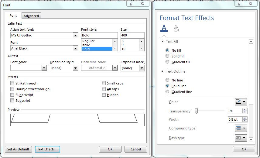 Adjust text effects on Microsoft Words to create texts with outlines only.