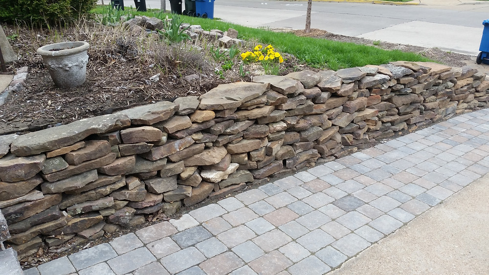 dry-stacked natural stone retaining wall