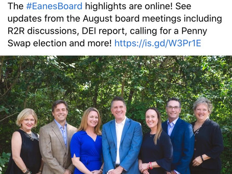 Eanes ISD August Board Highlights