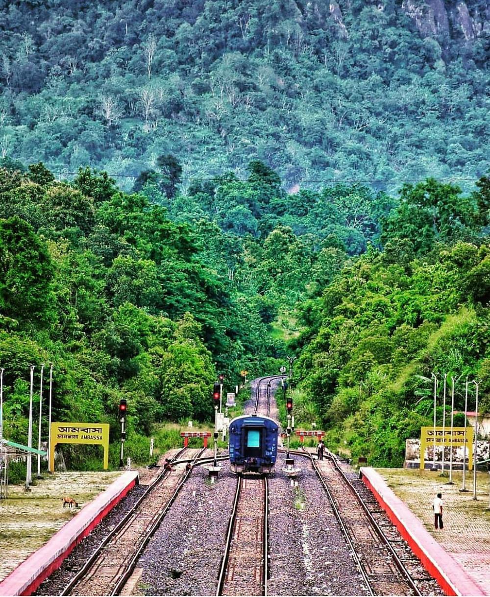 The breathtaking view of Ambassa railway station.