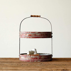 Red Weathered Metal Oval Two-Tier Tray with Handle