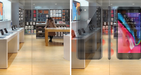 LEDs transparentes, des hologrammes sur les vitrines