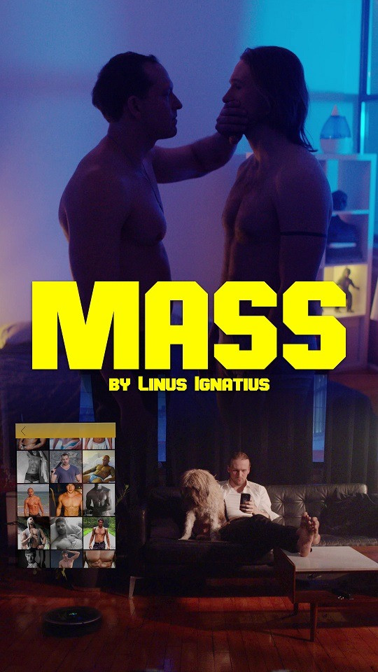 Mass movie poster featuring two men in a darkened room, one man holds his hand over the other's mouth.