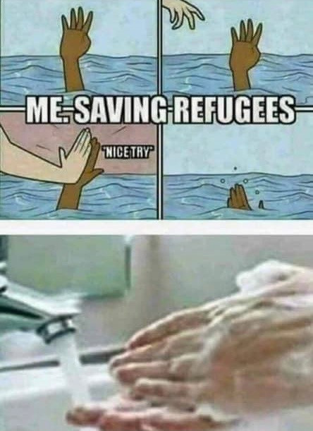 Me Saving Refugees. Nice try. High five