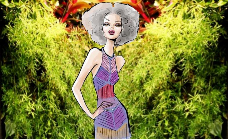 Beautiful woman in cannabis weed garden