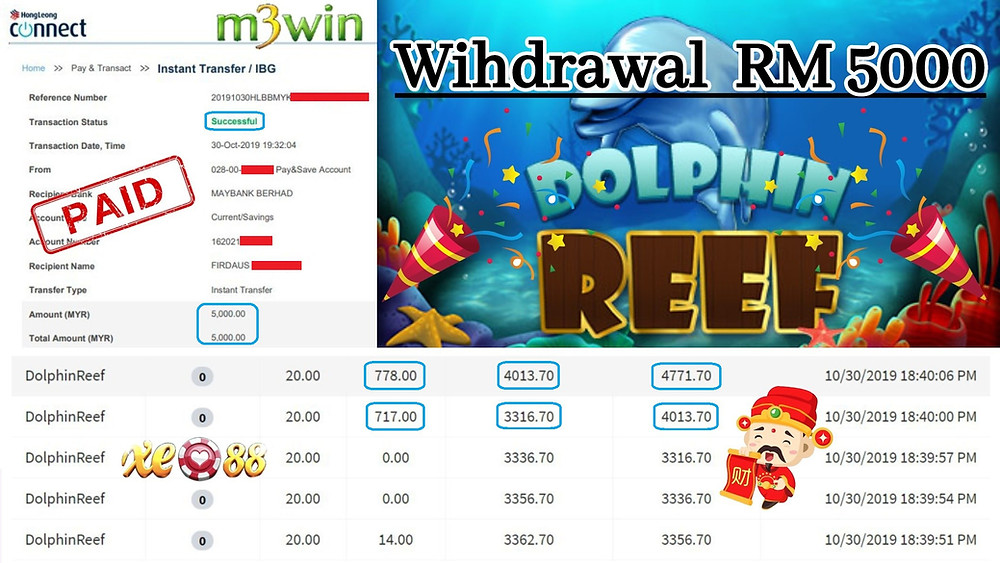 Member play Dolphin Reef at XE88 Mobile casino and won RM 5000!
