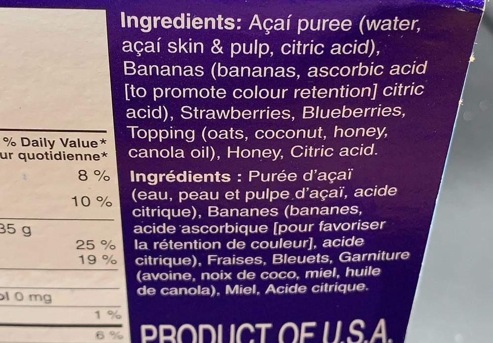 Costco Dole Acai Bowls Ingredients