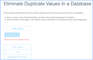 Example: No Database Duplicates | Corvid Forum | Corvid by Wix