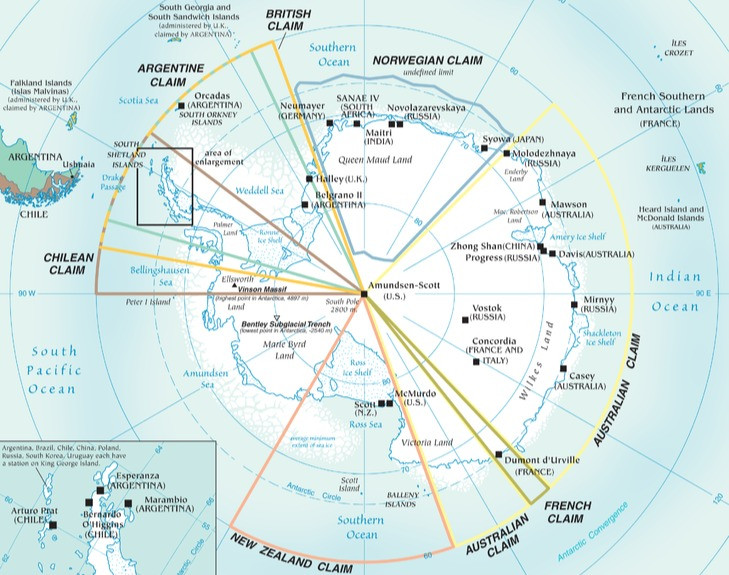 A map of territorial claims in Antarctica.